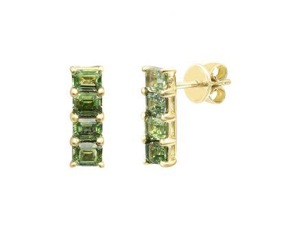 Серьги из желтого золота с бриллиантами с сапфирами ZARINA