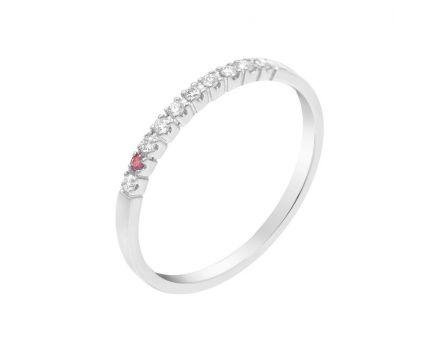 Каблучка діамантова доріжка з рубіном