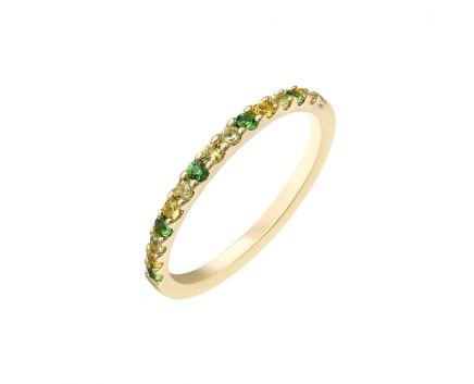 Кольцо из желтого золота с бриллиантами, сапфирами, цаворитами и хризолитами ZARINA