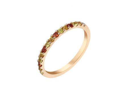 Каблучка з рожевого золота з діамантами та сапфірами ZARINA