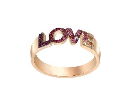 Каблучка з рожевого золота з діамантами, рубінами та сапфірами ZARINA