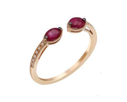 Каблучка з рожевого золота з діамантами та рубінами ZARINA