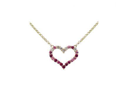 Кольє з рожевого золота з діамантами, рубінами та сапфірами ZARINA