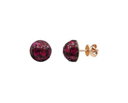 Серьги из розового золота с бриллиантами и рубинами ZARINA