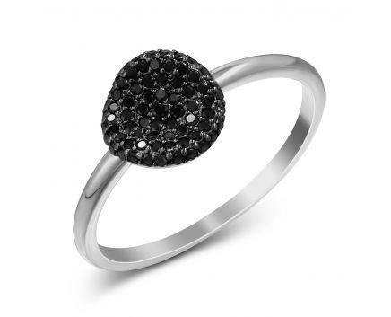 Каблучка з чорними діамантами