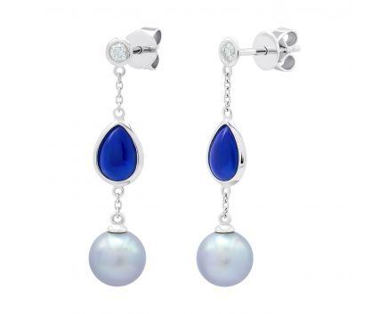 Сережки з білого золота з діамантами, перлами та лазуритом ZARINA
