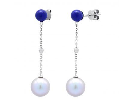 Сережки з білого золота перлами і лазуритом