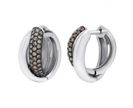 Сережки з коньячними діамантами Гармонія