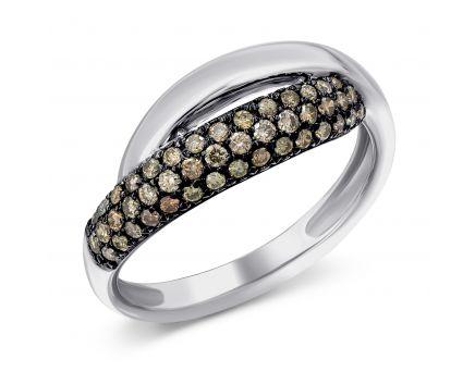 Каблучка з коньячними діамантами Гармонія