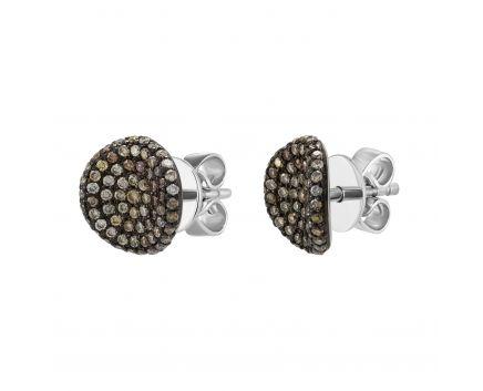 Сережки з білого золота з коньячними діамантами