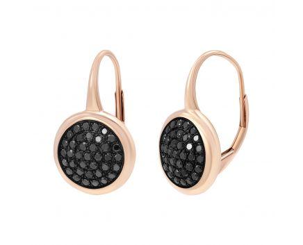 Сережки з чорними діамантами в рожевому золоті