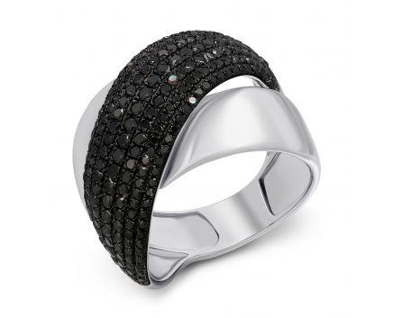 Каблучка з чорними діамантами Статус