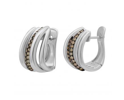 Сережки з коньячными діамантами та англійською застібкою