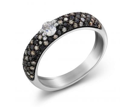 Каблучка з чорними та коньячними діамантами
