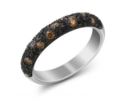 Кольцо с коньячными бриллиантами Мозаика