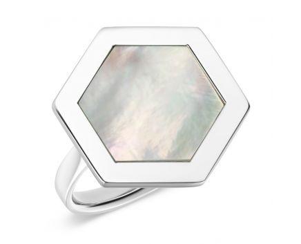 Кольцо из белого золота с перламутром Makatsaria
