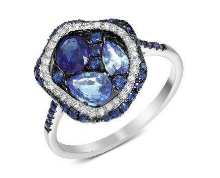 Кольцо с бриллиантами и сапфирами белого золота ZARINA