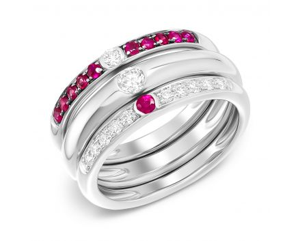 Каблучка з діамантами  та рубінами Три в одній