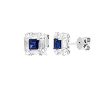Сережки з діамантами та сапфірами квадратної форми