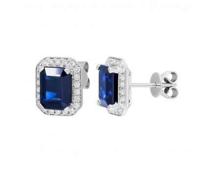 Сережки з діамантами та сапфірами огранки октагон