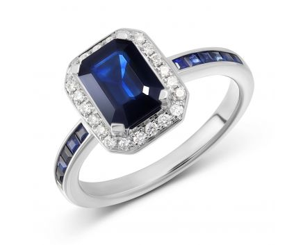 Каблучка діамантами та сапфірами