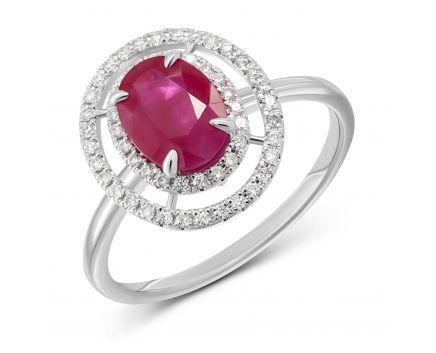 Каблучка з діамантами та овальним рубіном