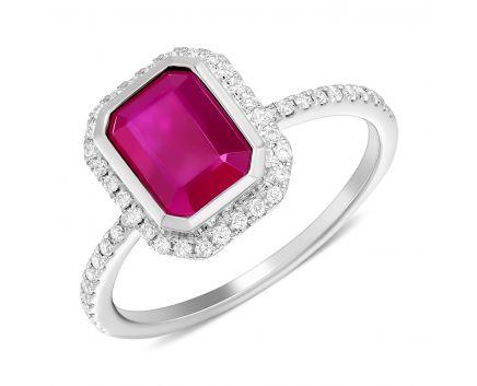 Каблучка у білому золоті з рубіном огранки октагон та діамантами