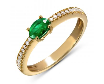 Каблучка з овальним смарагдом та діамантами