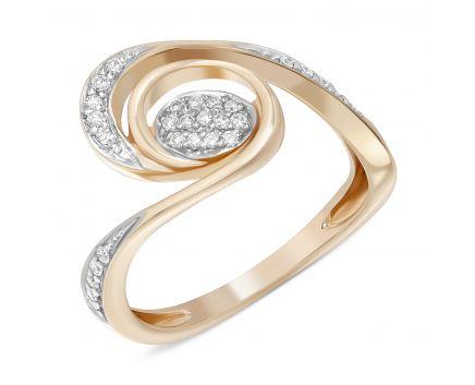 Каблучка тайфун з діамантами в рожевому золоті