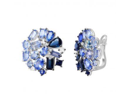 Сережки з діамантами та сапфірами у білому золоті Синя троянда