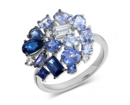 Каблучка Синя троянда в білому золоті з діамантами та сапфірами