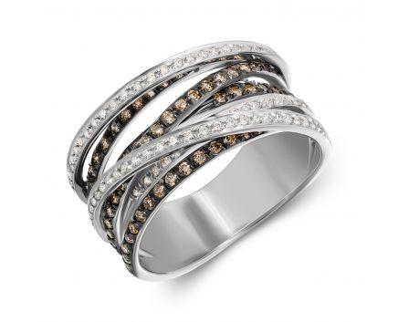 Каблучка Агнес з коньячними діамантами