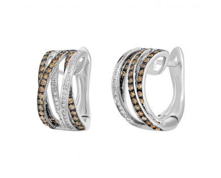 Сережки з коньячними діамантами Агнес
