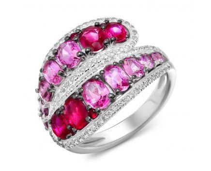 Каблучка з діамантами, рубінами та рожевими сапфірами Гвен