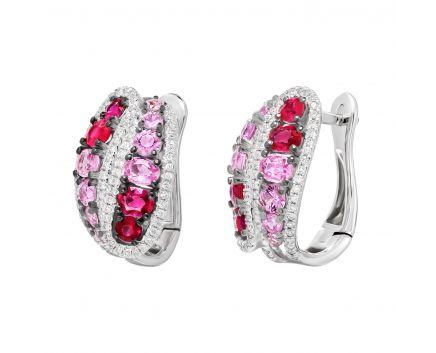 Сережки з діамантами, рубінами та рожевими сапфірами Гвен
