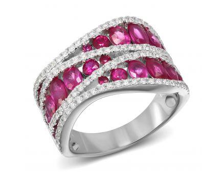 Каблучка з діамантами та рубінами Лірика