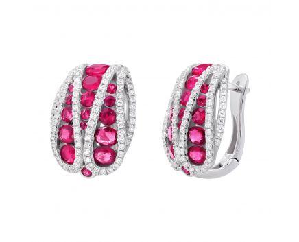 Сережкки з діамантами та рубінами Лірика