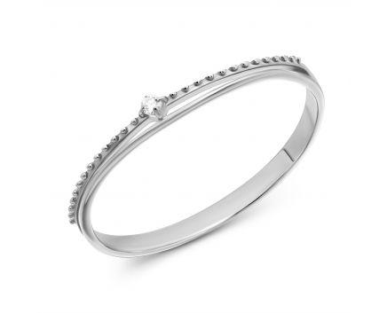 Каблучка Флора з білого золота та діамантом