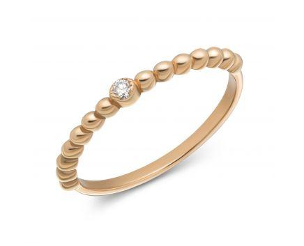 Каблучка Асель з діамантом в рожевому золоті