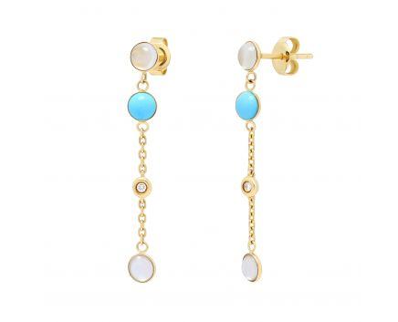 Сережки з діамантами, бірюзою та місячними каменями у жовтому золоті