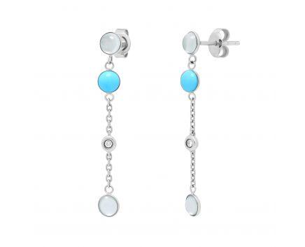Сережки з діамантами, бірюзою та місячними каменями