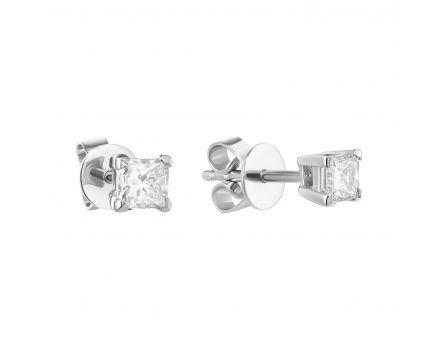 Сережки з діамантами огранки принцеса