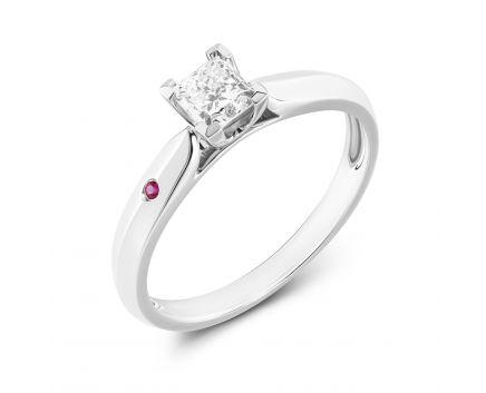 Каблучка Констанція з діамантом та рубіном в білому золоті