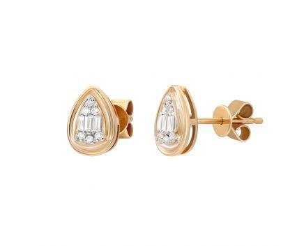Сережки Дорі з діамантами в рожевому золоті