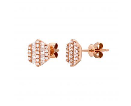 Сережки Лінда з діамантами в рожевому золоті