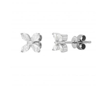 Сережки з діамантами у білому золоті Зена