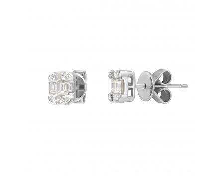 Сережки Анісья з діамантами в білому золоті