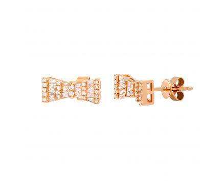 Сережки Бантик з діамантами