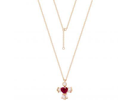 Кольє серце з рубіном та діамантом в рожевому золоті