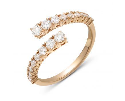 Каблучка з діамантами з рожевого  золота